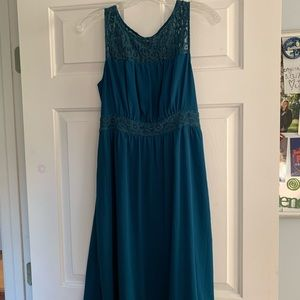 Dark teal sleeveless dress